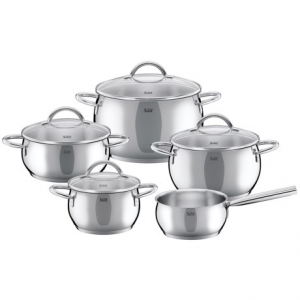 silit nobile stainless steel induction cookware set - 9-piece- Save 55% Off - CLOSEOUTS . The Silit Nobile induction cookware set features polished aesthetics and an elegant design. It includes 4 casserole pans with lids and a saucepan, all made of high-quality 18/10 stainless steel with a Silitherm universal base that distributes heat evenly. Available Colors: STAINLESS STEEL.