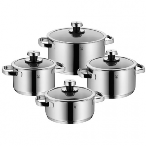 wmf livo stainless steel cookware set - 8-piece- Save 55% Off - CLOSEOUTS . This WMF Livo cookware set features modern curves and Cromarganand#174; stainless steel construction that delivers years of remarkable kitchen performance. Wide rims prevent drips when pouring, and the TransTherm base ensures even heat distribution and retention. Available Colors: STAINLESS STEEL.