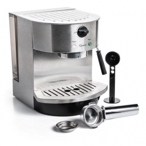 capresso stainless steel pump espresso and cappuccino machine- Save 9.% Off - CLOSEOUTS . Brew your own specialty coffee drinks at home with the easy-to-use Capresso stainless steel pump espresso and cappuccino machine. The advanced pump boiler heating system delivers consistent results, and the 15 bar pump provides optimal pressure for rich cream. Available Colors: STAINLESS STEEL.