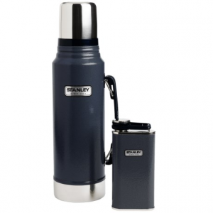 stanley classic vacuum-insulated bottle and flask gift set - 1.1 qt. bottle, 8 fl.oz. flask- Save 25% Off - CLOSEOUTS . Built for life, the Stanley Classic vacuum-insulated bottle and flask gift set is ideal for anyone who spends significant time outdoors, traveling or camping. Durable stainless steel construction and a fully packable, leak-proof design make this set a prized possession for years of dependable use. Available Colors: NAVY, GREEN.