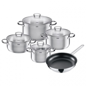 silit toskana stainless steel cookware set - 9-piece- Save 62% Off - CLOSEOUTS . Silitand#39;s Toskana cookware set is crafted of smooth 18/10 stainless steel that heats quickly and evenly. The pots feature ergonomic handles, wide rims for easy pouring, and glass lids for easy viewing of the contents Available Colors: STAINLESS STEEL.