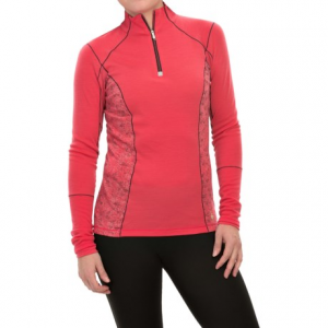 smartwool phd light printed shirt - merino wool, zip neck, long sleeve (for women)- Save 50% Off - CLOSEOUTS . Serious performance in a never-before-seen design, SmartWooland#39;s PhD light printed shirt busts on the activewear scene with a power blend of temperature-regulating merino wool and wicking, durable polyester. The articulated seaming lends a shapely, non-restrictive fit, and -- this is the best part! -- the sleeves feature built-in extended micromesh cuffs so you can get extra ventilation and cooling without losing a layer of protection. Available Colors: HIBISCUS, INK. Sizes: XS, S, M, L, XL.