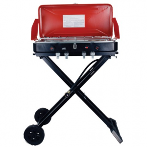 texsport travel 'n' trail dual-burner camp stove - propane- Save 49% Off - CLOSEOUTS . From the camp site to the park to the back patio, youand#39;ll be grillinand#39; away with Texsportand#39;s Travel 'n' Trail dual-burner stove. This smartly constructed stove lets you choose between burner and grill grates, and it can use a 16.4-ounce propane cylinder or 20-pound propane tank for fuel. Its fold-and-go base makes for hassle-free transport! Available Colors: RED.