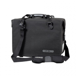 ortlieb office-bag high-visibility ql3 bag- Save 40% Off - CLOSEOUTS . A bike briefcase that fits securely on your rear rack, Ortlieband#39;s Office-Bag High-Visibility QL3 bag ensures youand#39;re visible during your commute. It features waterproof Corduraand#174; fabric, a roll-top closure and an interior organizer panel with pockets. Available Colors: BLACK.