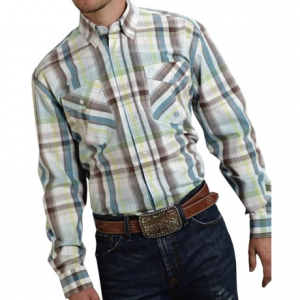 roper cotton plaid shirt - button front, long sleeve (for men and big men)- Save 40% Off - CLOSEOUTS . Low-key in its western detail (i.e. no pearly snaps or pointed yokes), Roperand#39;s button-front shirt is a beautiful cotton plaid that looks studly with your best denims and cowboy belt. Available Colors: LEMON GRASS, SUMMER, MORNING DEW, ZONE 2, PURPLE SAPPHIRE, BLUE COLD MOUNTAIN, BLUE INDIGO FIRE, BLUE LEMON GRASS. Sizes: S, M, L, XL, 2XL, 3XL.