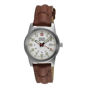 wenger swiss military classic field sport watch - leather strap (for women)- Save 54% Off - CLOSEOUTS . Women who prefer the look of a leather band will love this high-quality timepiece. Wenger Swiss Militaryand#39;s Classic Field sport watch offers excellent readability in low or bright light, and its beautifully embossed band lends a lot of casual workday appeal to its sport-friendly performance. Available Colors: WHITE/BROWN.