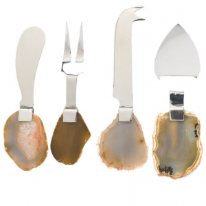 godinger agate-handled cheese utensils - set of 4, stainless steel- Save 33% Off - CLOSEOUTS . The polished, sliced agate-stone handles of Godingerand#39;s cheese utensils bring a bold artistic touch to your dining experience; sure to start a conversation with your guests, theyand#39;re so pretty and interesting youand#39;ll want to display it as decor when not in use. Available Colors: STAINLESS.