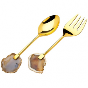 godinger agate-handled salad serving set - stainless steel- Save 33% Off - CLOSEOUTS . The polished, sliced agate-stone handles of Godingerand#39;s salad serving set bring a bold artistic touch to your dining experience; sure to start a conversation with your guests, theyand#39;re so pretty and interesting youand#39;ll want to display it as decor when not in use. Available Colors: STAINLESS, BRASS.