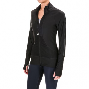 mondetta high cuff jacket (for women)- Save 50% Off - CLOSEOUTS . Zip up the Mondetta High Cuff jacket for a breathable warm-up layer, or perhaps a light jacket for running errands in the morning. This jacket excels from the gym to the store thanks to a blend of performance fabrics that includes a touch of spandex for stretch, breathable mesh panels on the back and arms, and deep kangaroo pockets with zip closures. Available Colors: BLACK. Sizes: S, M, L, XL.