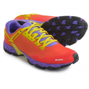salewa lite train trail running shoes (for women)- Save 53% Off - CLOSEOUTS . A lightweight, breathable and flexible design with an aggressively lugged outsole, Salewa Lite Train trail running shoes excel on technical terrain and softer surfaces. The custom Michelin-made outsole offers excellent grip on rock and soft dirt. Available Colors: BLACK/PINKY, HOT CORAL/CITRO. Sizes: 6, 7, 8, 9, 10, 7.5, 8.5, 9.5, 11.