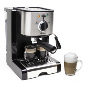 capresso ec100 pump espresso and cappuccino machine- Save 33% Off - 2NDS , factory refurbished. Explore brewing your own specialty coffee drinks with the simple-to-use Capresso EC100 pump espresso and cappuccino machine. The Thermoblock heating system has 15 bar pump pressure and two sieves to produce two espressos at one time. Available Colors: BLACK/STAINLESS, 02.