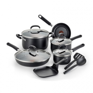t-fal pro grade titanium nonstick cookware set - 12-piece- Save 54% Off - CLOSEOUTS . A great gift for the eager home chef, T-Faland#39;s Pro Grade Titanium nonstick cookware set includes two frying pans, covered saucepans, saute pan and dutch oven, and even heat-resistant cooking utensils. Available Colors: BLACK.