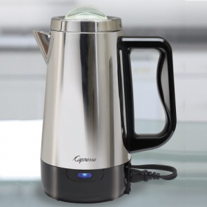 capresso 8-cup percolator- Save 16% Off - CLOSEOUTS . Perk up any day with fresh-brewed coffee from Capressoand#39;s 8-cup percolator, beautifully designed with a stainless-steel-wrapped housing. The detachable cord allows easy at-table service, the heat-resistant base is safe on any surface, and the illuminated indicator tells you when itand#39;s time to start sipping. Available Colors: STAINLESS STEEL.
