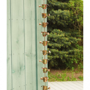 ancient graffiti watering can rain chain - 8?- Save 40% Off - CLOSEOUTS . A unique addition to any patio or garden setting, this Ancient Graffiti Watering Can Rain Chain hangs from a gutter spout, allowing you to watch the water cascade through the copper cans. Available Colors: SEE PHOTO.