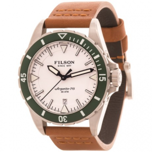 Image of Filson Dutch Harbor Watch - 43mm, Tan Leather Strap (For Men)