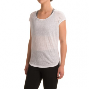prana tandi shirt - organic cotton, short sleeve (for women)- Save 61% Off - CLOSEOUTS . The geometric print on prAnaand#39;s Tandi shirt adds visual appeal to this tissue-thin layer, and the ultralight burnout jersey feels delightfully soft on skin, thanks to the breathable organic cotton blend. Available Colors: BLACK, BRIGHT CORAL, ULTRA VIOLET, WHITE. Sizes: S, M, L, XL.