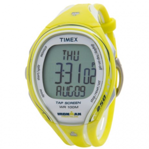 timex ironman(r) sleek 250 mid-size sports watch (for women)- Save 57% Off - CLOSEOUTS . Perfect for the woman who is always running, the Timex IRONMAN(R) Sleek 250 Mid-Size sport watch is loaded with basics and a few extras besides. Tap Screen technology shaves seconds off the clock, giving you audible feedback alerts. Hydration and nutrition alarms can be set for intervals. And the unique co-molded band minimizes contact with skin for ultra-breathable comfort. Available Colors: SILVER/PINK, NEEDS COLOR, 02, SILVER/YELLOW.