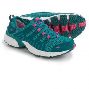 ryka hydro sport training shoes (for women)- Save 38% Off - CLOSEOUTS . Rykaand#39;s Hydro Sport training shoes arenand#39;t afraid of a little water! The hybrid design features a super-breathable, quick-drying mesh upper and drain ports in the outsole that allow water to flow out. Theyand#39;ll provide extra arch support for your water-aerobics classes, and theyand#39;re perfect for splashing through creek beds with the kids. Available Colors: BLUE/TEAL. Sizes: 5, 5.5, 6, 6.5, 7, 7.5, 8, 8.5, 9, 9.5, 10, 11.