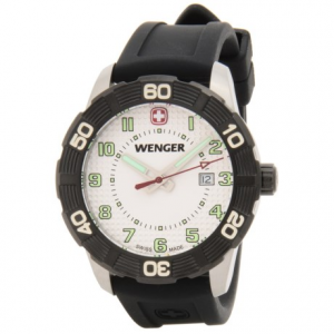 wenger roadster sport watch - silicone strap- Save 50% Off - CLOSEOUTS . Wengerand#39;s Roadster Sport watch matches casual-yet-refined style with the impeccable precision of Swiss quartz movement. A smooth silicone strap and water-resistant construction offer uncompromising utility, and the luminous hands ensure you can always read the time. Available Colors: WHITE/BLACK.