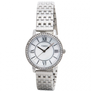 Image of Timex Style Elevated Classic Crystals Watch - 30mm, Stainless Steel Bracelet (For Women)