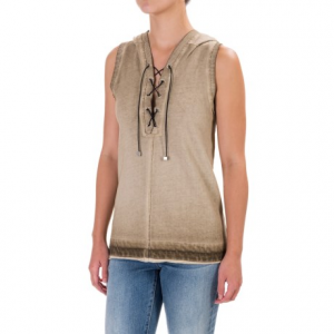 Image of 525 America Spray-Dyed Hoodie - Front Lace, Sleeveless (For Women)
