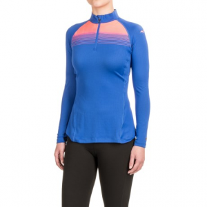 mizuno breath thermo(r) base layer running shirt - zip neck, long sleeve (for women)- Save 64% Off - CLOSEOUTS . A superlight design with serious thermal capabilities: meet Mizunoand#39;s Breath Thermoand#174; running shirt, a base-layer-style design with a high-coverage zip neck and articulated seaming for the ultimate in moving comfort. Available Colors: DAZZLING BLUE, ROSE BUD, DARK SHADOW. Sizes: XS, S, M, L, XL, 2XL.