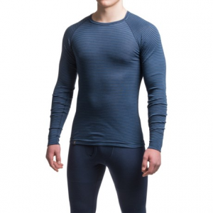 Image of Ibex Woolies 1 Striped Crew Neck Base Layer Top - Merino Wool, Long Sleeve (For Men)