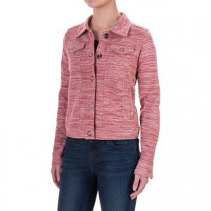 aventura clothing finley space-dyed jacket (for women)- Save 70% Off - CLOSEOUTS . Aventura Clothingand#39;s Finley jacket amps up the comfort with a rich organic cotton knit, soft terry interior and jacket-style structured fit. Bold space-dyed print and grommet-style snaps team up for modern-yet-original style. Available Colors: PHANTOM, DEEP CLARET. Sizes: XS, S, M, L, XL.