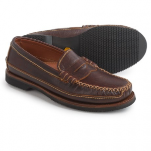 Image of Chippewa American Bison Leather Penny Loafers - Leather, Slip-Ons (For Men)
