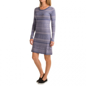 aventura clothing clara dress - viscose, long sleeve (for women)- Save 49% Off - CLOSEOUTS . Beat the chill in Aventura Clothingand#39;s Clara dress --  fashioned in a cozy sweater knit of viscose and nylon for a soft hand and comfortable feel, and topped with a geometric print for punchy style. Available Colors: BLUE INDIGO. Sizes: S, M, L, XL, XS, 2XL.