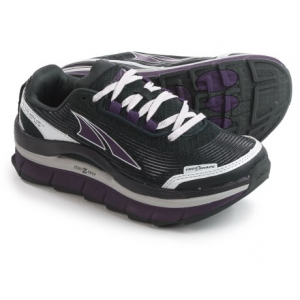 altra olympus 1.5 trail running shoes (for women)- Save 50% Off - CLOSEOUTS . Altraand#39;s Olympus 1.5 trail running shoes take the Zero-Drop platform and give it a max-cushioned midsole. Packed into that maximal stack, A-Bound cushioning helps return energy to each stride, and EVA foam underneath adds protection on rugged terrain, a great shoe for all kinds of use from hiking to trail racing. Available Colors: BLACK/PURPLE. Sizes: 6, 11.