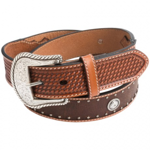 Image of Roper Fold-Over Edge Leather Belt - Contrast Stitching (For Men)