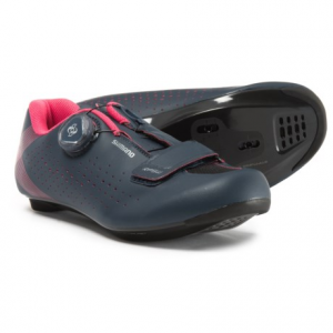 shimano sh-rp5w road cycling shoes - spd, 3-hole (for women)- Save 40% Off - CLOSEOUTS . Shimano's SH-RP5W road cycling shoe is made for riders who log lots of miles and want a shoe that stays comfortable hour after hour. Generous forefoot volume and a carbon composite cleat plate complete the versatile, powerful package. Available Colors: WHITE. Sizes: 37, 39, 40, 41, 42, 43.