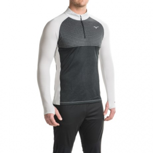 mizuno breath thermo(r) double-knit running shirt - zip neck, long sleeve (for men)- Save 60% Off - CLOSEOUTS . Cool weather runs are a treat in Mizunoand#39;s Breath Thermoand#174; double-knit running shirt. The exclusive Breath Thermoand#174; panel generates heat while on the go, the extended neck adds increased coverage, and the zip neck design allows custom ventilation. Available Colors: RED/DARK SHADOW, SKYDIVER/SKYDIVER, BLACK/GLACIER GREY. Sizes: S, M, L, XL.