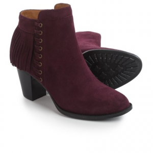 sofft winters fringed ankle boots - suede (for women)- Save 57% Off - CLOSEOUTS . Sofftand#39;s Winters suede ankle boots are equal parts cowgirl chic and city-slicker sassy with decorative lacing at the side, fringed trim at the back, a chunky stacked heel and a trendy ankle-height silhouette. Available Colors: HAVANNAH BROWN, BLACK, BORDO. Sizes: 6, 6.5, 7, 7.5, 8, 8.5, 9, 9.5, 10, 10.5, 11.