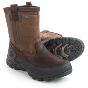 merrell bergenz winter boots - waterproof, insulated (for men)- Save 63% Off - CLOSEOUTS . Merrelland#39;s Bergenz winter boots are waterproof, insulated cold weather boots with the functionality and style of a casual slip-on. 200g PrimaLoftand#174; insulation and a lugged rubber outsole make this style warm and rugged enough for snowy winter outings. Available Colors: BROWN/STONE. Sizes: 7.5, 8, 8.5, 9, 9.5, 10, 10.5, 11, 11.5, 13, 14, 15.