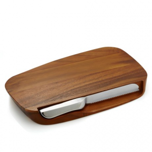 Image of Nambe Blend Wood Bread Board with Knife