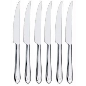 wmf juwel steak knives - stainless steel, set of 6- Save 55% Off - CLOSEOUTS . Add some sparkle to your culinary feast with WMFand#39;s Juwel steak knives. The durable 18/10 stainless steel construction features a faceted handle that glimmers when it catches the light, and the serrated edge maintains its sharpness use after use. Available Colors: SEE PHOTO, STAINLESS STEEL.