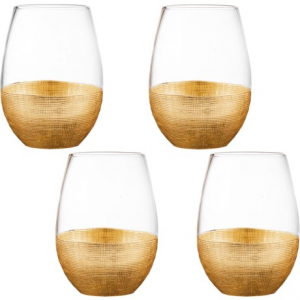 Image of Fitz and Floyd Linen-Textured Stemless Wine Glass Set - 20 fl.oz., Set of 4