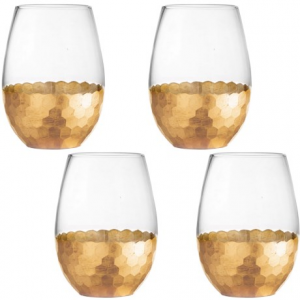 Image of Fitz and Floyd Daphne Stemless Wine Glass Set - 20 fl.oz., Set of 4