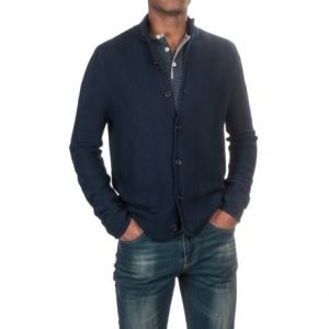 Image of Aqua by Toscano Textured Cardigan Sweater - Merino Wool (For Men)