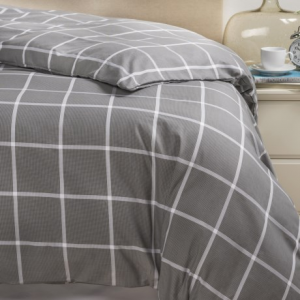 Image of Bambeco Emerson Windowpane Organic Cotton Duvet Cover - Full-Queen