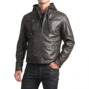 Image of Bod and Christensen Sheepskin Leather Moto Jacket - Detachable Hood (For Men)