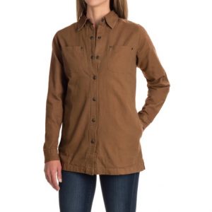 backpacker canvas and flannel shirt jacket - snap front (for women)- Save 40% Off - CLOSEOUTS . Perfect for crisp campfire evenings or cool-day adventuring, this Backpacker Canvas and Flannel shirt jacket is done in rugged canvas with soft-and-warm flannel lining, twin chest pockets and a pleated back for comfort-boosting mobility. Available Colors: MOSS, BLACK, BROWN. Sizes: XS, S, M, L, XL, 2XL.