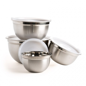 Image of OGGI Stainless Steel Bowl Set with Lids - 4-Piece