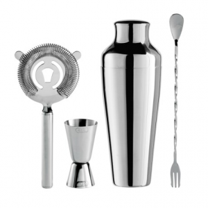 Image of OGGI Stainless Steel Cocktail Shaker and Bar Tool Set - 4-Piece