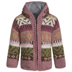 Image of Laundromat Jacquard Hand-Knit Hooded Sweater - Wool (For Little Girls)
