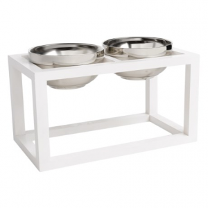 Image of DOGHAUS Wood Frame Elevated Dog Bowls - 3-Piece, 6?