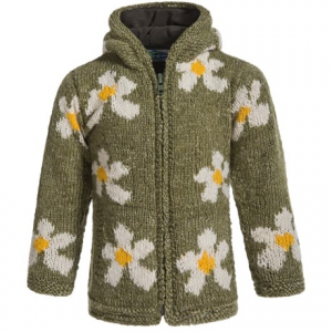 Image of Laundromat Daisy Hand-Knit Hooded Sweater - Wool (For Little Girls)