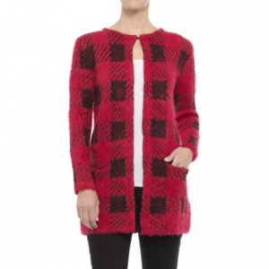 Image of August Silk Chevron Printed Feathered Cardigan Sweater (For Women)